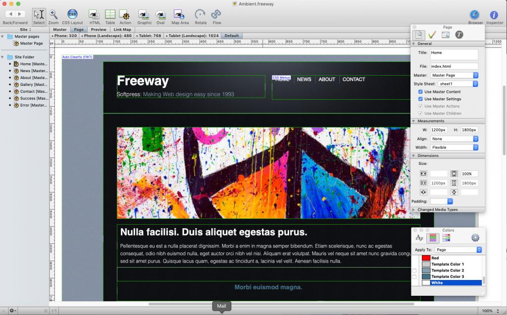 SoftPress Freeway Pro User Interface