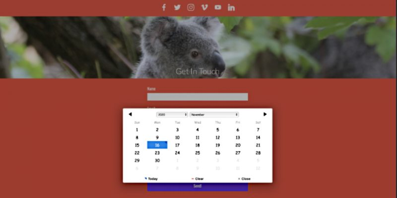 Contact Forms Enhanced Calendar and Select Time Controls